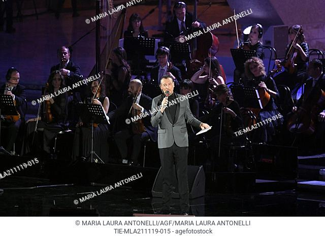 Tv conducer Amadeus during the charity show ' Una serata di stelle' for the Hospital Bambino Gesu', Paul VI Hall, Vatican City, ITALY-20-11-2019