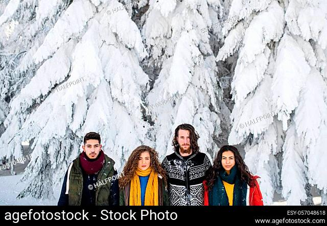 A group of young cheerful friends on a walk outdoors in snow in winter, looking at camera