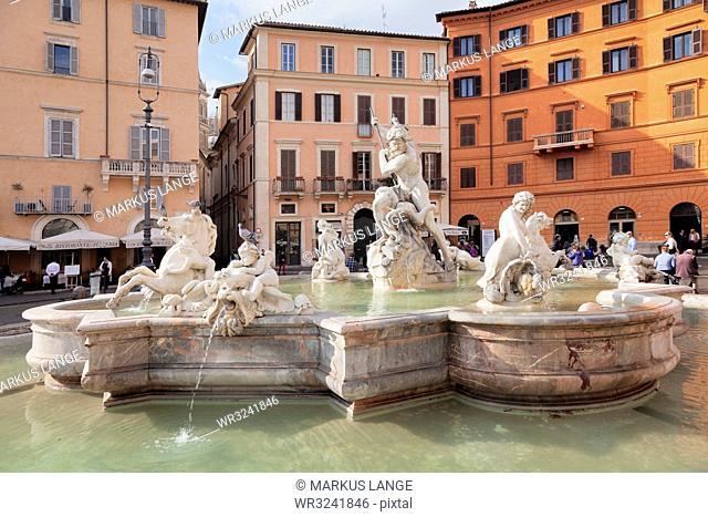 Neptune Fountain (Fontana del Nettuno), Piazza Navona, Rome, Lazio, Italy, Europe