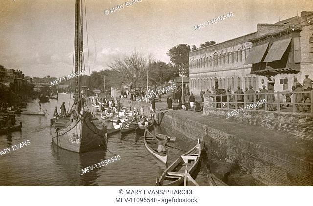 Landing stage, Ashar Creek, Basra, Iraq, with boats (water taxis)