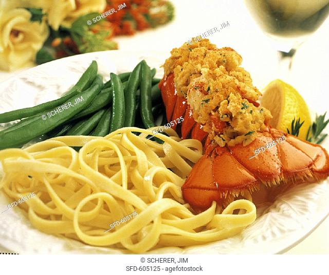 Stuffed Lobster Tail, Green Beans and Pasta