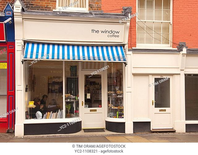 The Window coffee shop cafe which only seats 5 people in Norwich , Norfolk , England , Britain , Uk