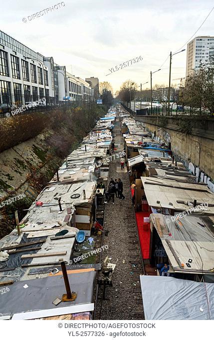 Paris, France, Immigrants Migrants Rom Camp, Old Train Tracks, Rue de Poissonieres
