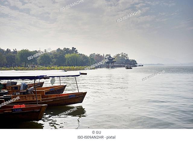 Moored fishing boats on Westlake, Hangzhou, China