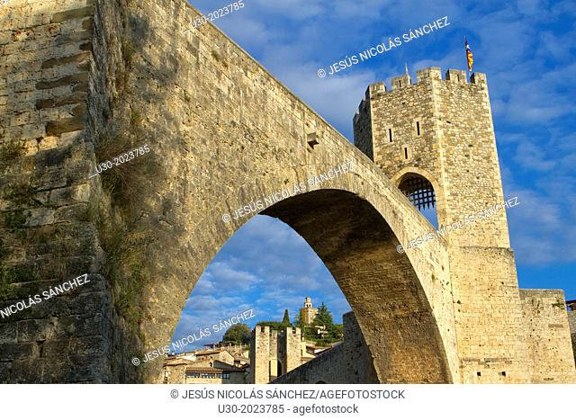 Medieval Bridge (11th Century), in Besalu, a medieval village declarated Historical-Artistic Site, ubicated in La Garrotxa, Girona province