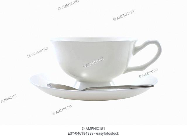 White cup of tea or coffee isolated on white background