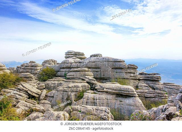 mountain range of the nature reserve El Torcal de Antequera, province of Málaga, Andalusia, Spain
