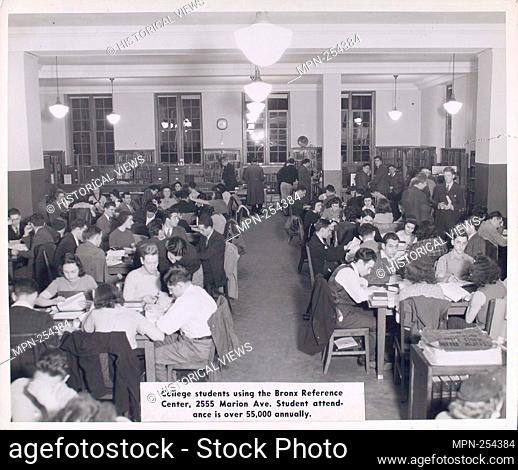 College students using the Bronx Reference Center, 2555 Marion Ave. Student attendance is over 55,000 annually. New York Public Library Visual Materials...