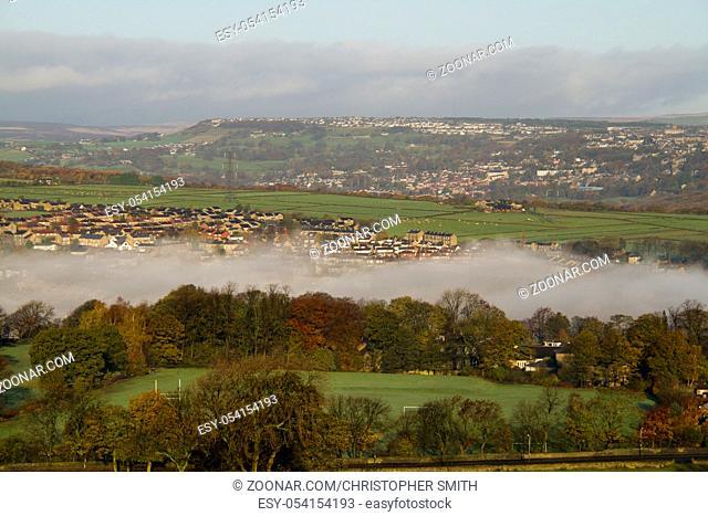Halifax west yorkshire England beautiful landscape with fog