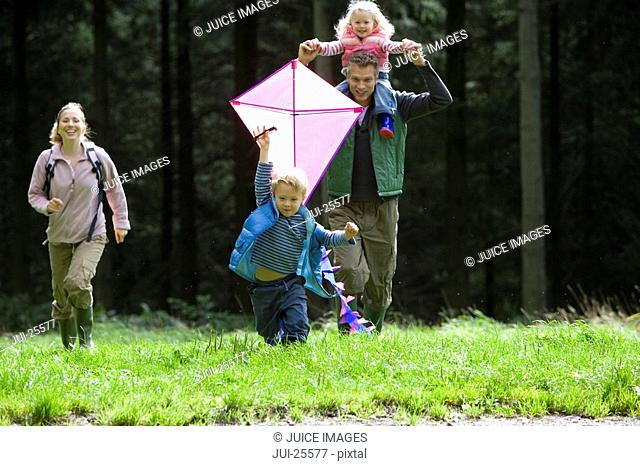 Family flying kite together in park