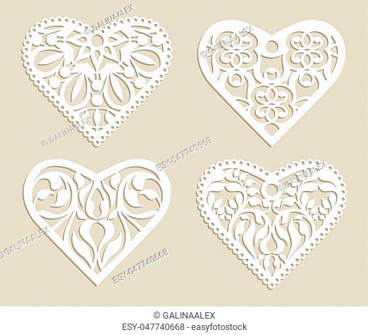 Set stencil lacy hearts with carved openwork pattern. Template for interior design, layouts wedding cards, invitations, etc