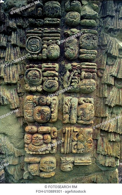 tell, glyphs, stela, back, carved, mayan