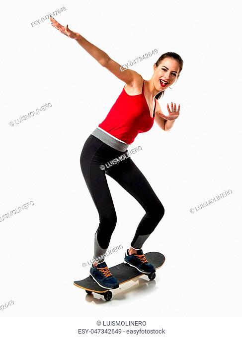 Pretty sport woman with skate