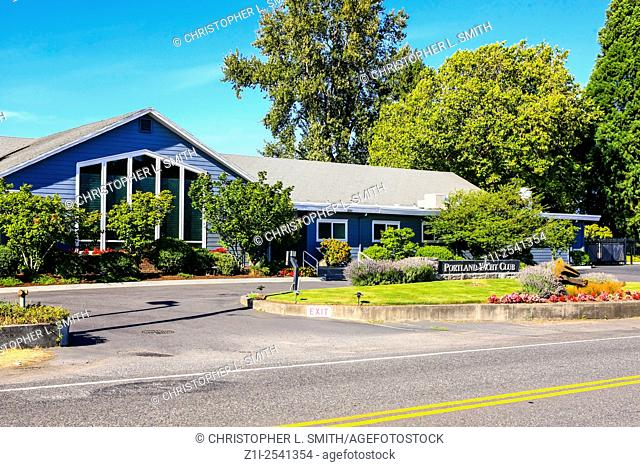 The Portland Yacht Club house on the shores of the Columbia River in Portland Oregon