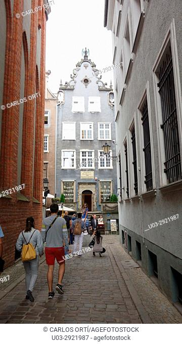 Tourists walking around the city centre of the polish town of Gdansk, Pomerania's cappital city. Europe