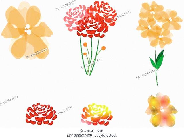 clip art flowers on white
