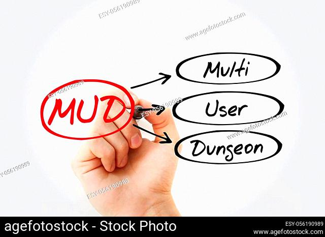 MUD - Multi User Dungeon acronym, technology concept background