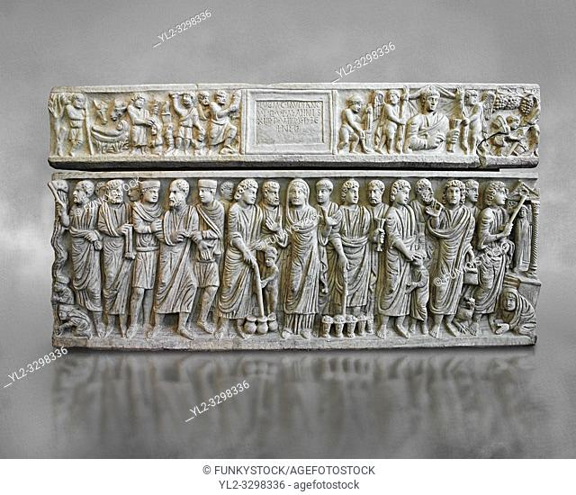 Roman relief sculpture on the Christian sarcophagus side od Marcus Claudianus depicting scenes from the new testament , circa 330 - 335 AD from the via della...