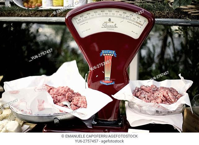 Scale with raw meat