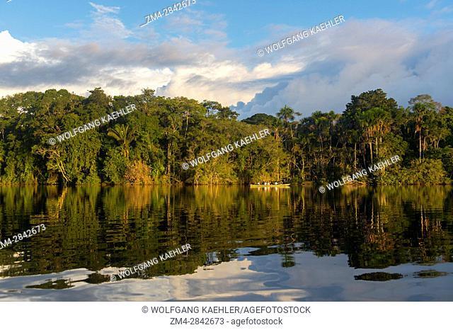Garzacocha Lake, a lagoon in the rain forest at La Selva Lodge near Coca, Ecuador in evening light