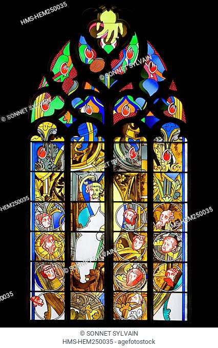France, Nievre, Nevers, Saint Cyr Sainte Julitte Cathedral, stained glass window by Francois Rouan