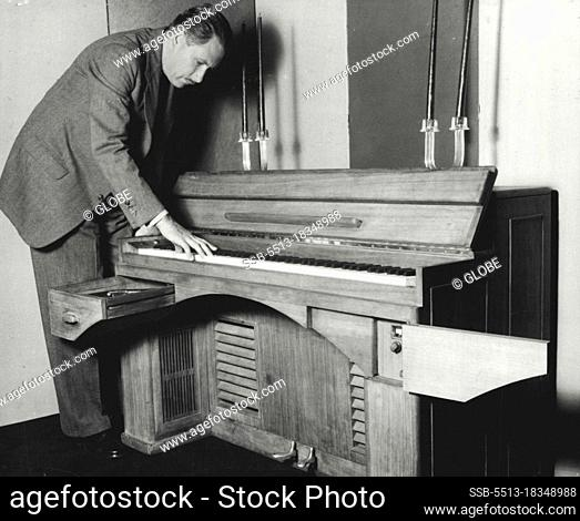 The Dynatone - It Possesses full 88 notes of grand of grand piano. Key-board is of standard height. Drawer on left houses phonograph turntables
