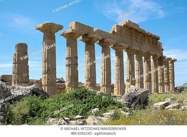 Greek ancient Temple C, Acropolis, Archaeological Park Selinunte, Selinunte, Sicily, Italy