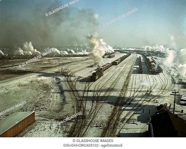 General View, Chicago and North Western Railroad, Chicago, Illinois, USA, Jack Delano for Farm Security Administration, December 1942