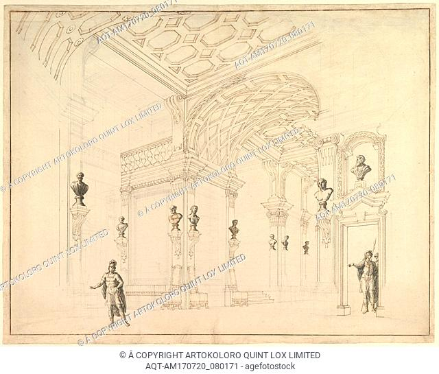 Design for a Stage Set, 1696–1756, Pen and brown ink, brush and gray wash, over black chalk, 17-1/2 x 22-1/4 in. (44.5 x 56