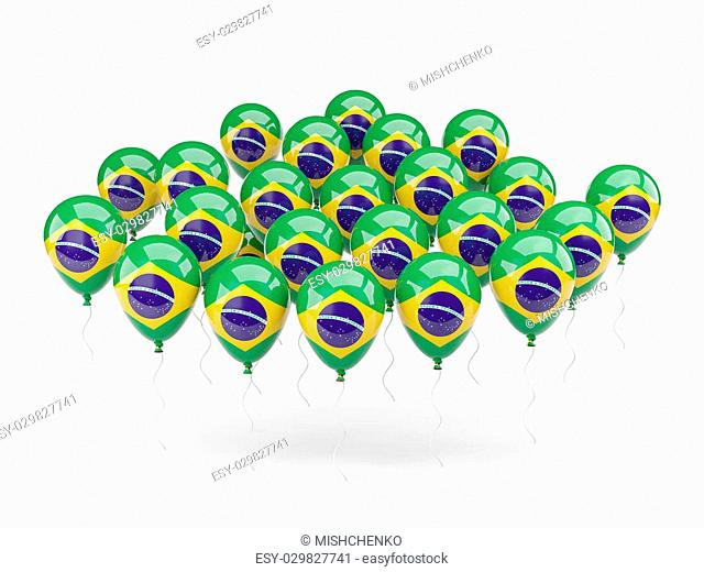 Balloons with flag of brazil isolated on white