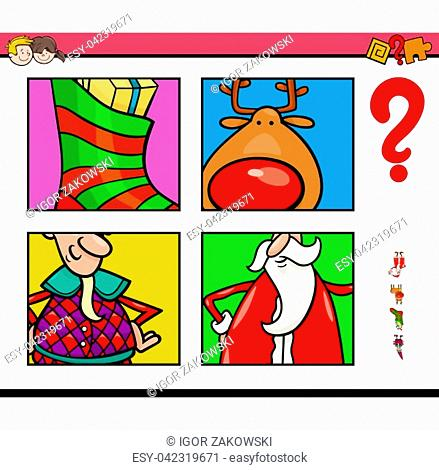Cartoon Illustration of Educational Game of Guessing Christmas Characters and Themes for Children
