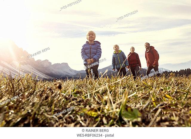 Italy, South Tyrol, Geissler group, family hiking
