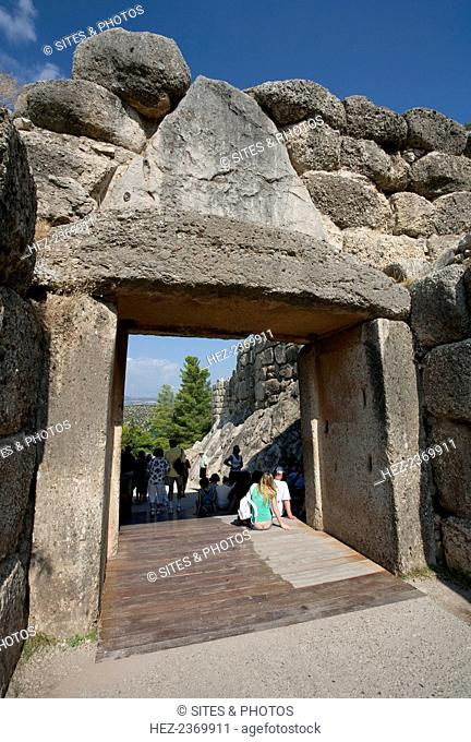 Lion Gate, Mycenae, Greece. The Lion Gate at Mycenae was built about 1250 BC. Mycenae is an archaeological site in Greece