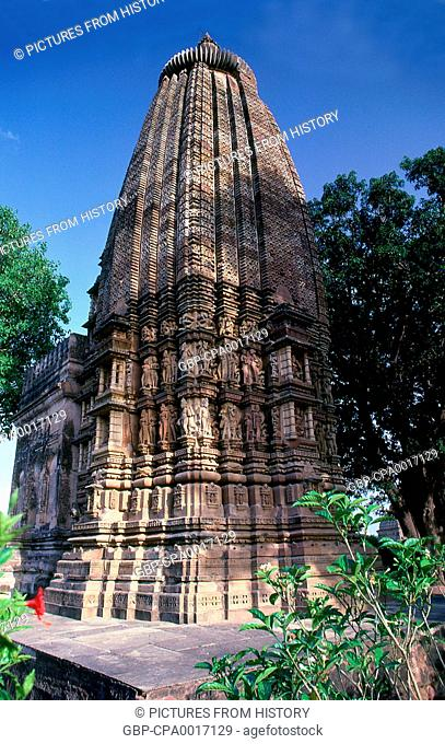 India: India: The tower of Adinatha Temple in the Jain compound, Khajuraho, Madhya Pradesh State, Khajuraho, Madhya Pradesh State