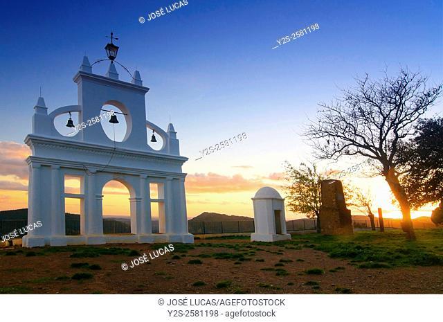 Belltower in the «Peña de Arias Montano», Alajar, Huelva province, Region of Andalusia, Spain, Europe