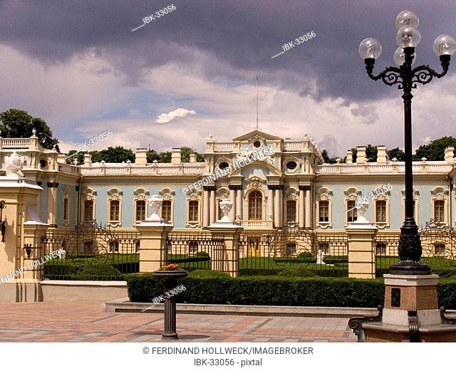 Ukraine Kiev Marienpalace of Zar Elisabeth I 1752 palace of Zar and government with laying out column and lamp cloud of thunderstorm 2004