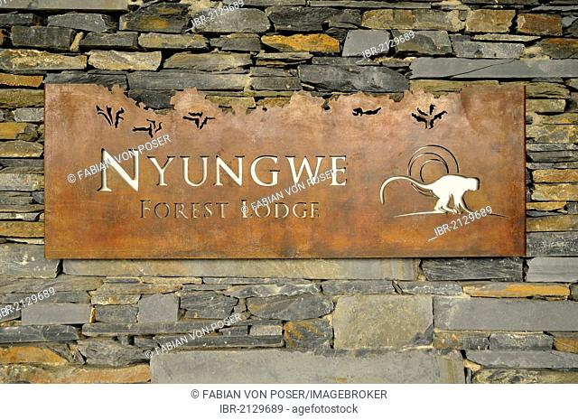 Sign at the entrance to the Nyungwe Forest Lodge, Nyungwe National Park, Rwanda, Africa