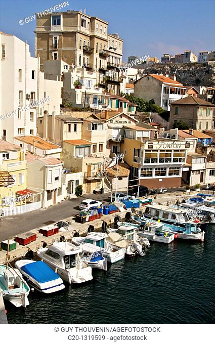 Small homes and high building, typical harbour of the Vallon des Auffes, coast road/corniche, Marseille, Bouches du Rhone, 13, France