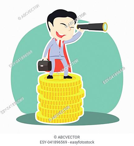 47c811c78a4d4 Super chinese businessman using binocular on top of coins