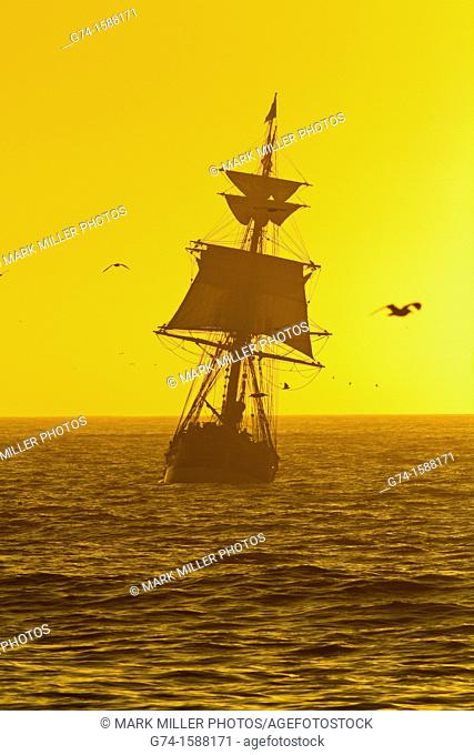 Old Tall Ship Pacific Ocean in afternoon light