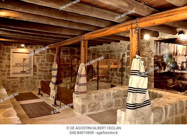 Water mills for grinding wheat, Roski Slap, Krka National Park, Croatia. Roski Slap, Ethnographic Museum of Krka National Park