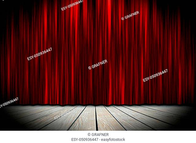 wooden theater stage with red curtains