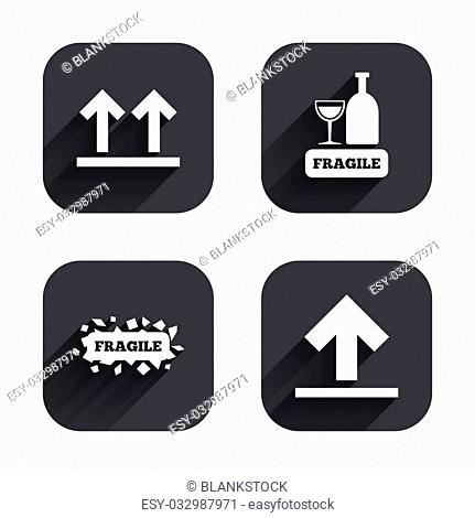 Fragile icons. Delicate package delivery signs. This side up arrows symbol. Square flat buttons with long shadow