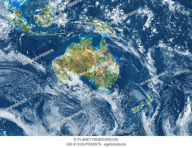 Oceania With Country Borders And Cloud Coverage, True Colour Satellite Image. True colour satellite image of Oceania with country borders and cloud coverage