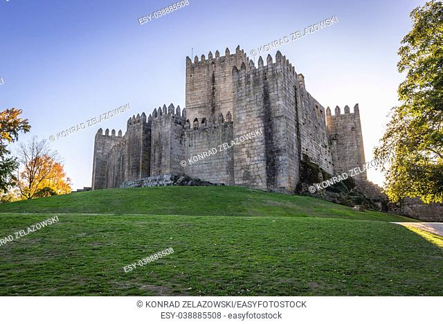 10th century castle on a hill in historical part of Guimaraes city in Minho Province of northern Portugal