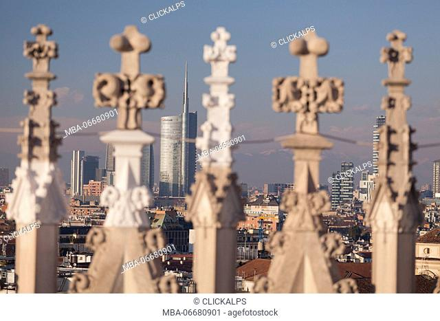 Milan, Lombardy, Italy. Unicredit tower views from the cathedral