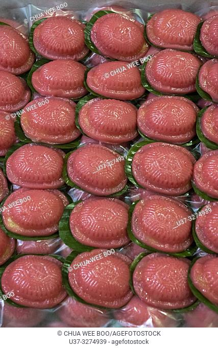 Red tortoise cakes filled with green bean paste