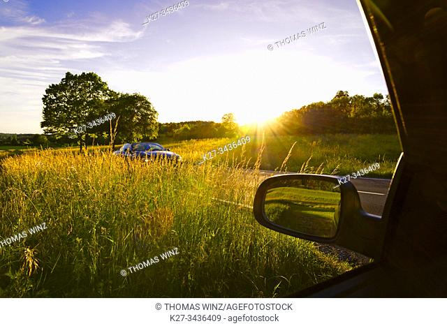 Car on a bright sunny day in the countryside. Stuttgart, Germany