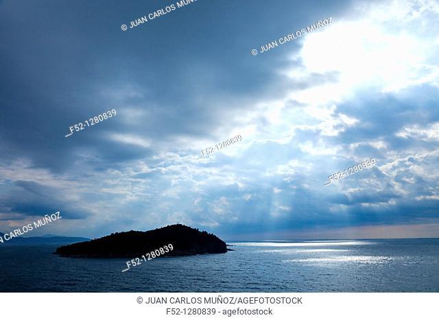 Lokrum Island from the walls of the Old Town of Dubrovnik, Dubrovnik City, Croatia, Adriatic Sea, Mediterranean Sea
