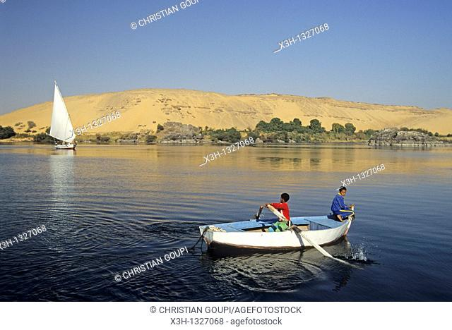 children rowing on the Nile river, Aswan, Egypt, Africa